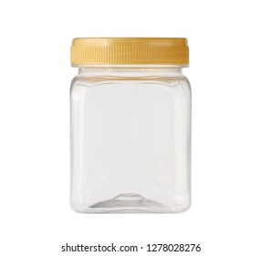 Square plastic jar (with clipping path) isolated on white background