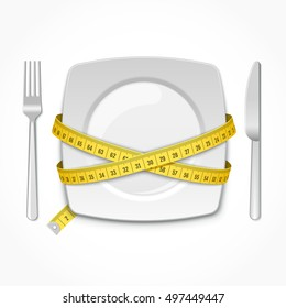Square plate with measuring tape, fork and knife. Conceptual illustration