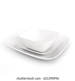Square Plates White Plate Set isolated on a White Studio Background  3D Rendering
