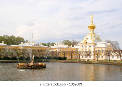 Square pond and fragment of Great palace. Peterhof