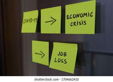 Square post it notes explaining the effect of covid 19 coronavirus on economic crisis and recession, and on unemployment, job loss and economic situation
