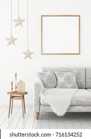 Square poster mock up with wooden frame on the wall in christmas livingroom interior. 3D rendering.