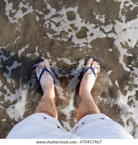 6414b3f42 Square POV Instagramstyle Shot Feet Ocean Stock Photo (Edit Now ...