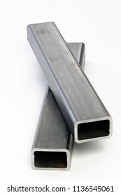 square rectangle steel metallic tubes profiles industry manufacturing construction structure products white background