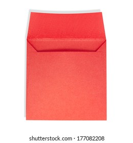 Square red envelope open on a white background with clipping path.