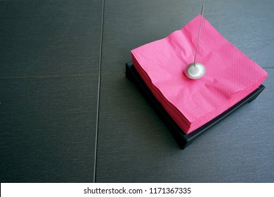 Square red kitchen napkin