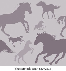 A square repeat pattern of silhouetted horses