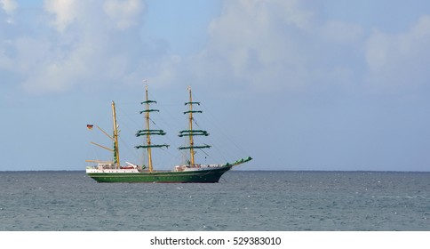 Square rigged tall ship anchored of Lanzarote.