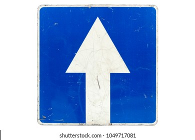 Square road sign 'One-way street' isolated on white.