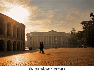 Square with Roman Arena. Verona. Italy