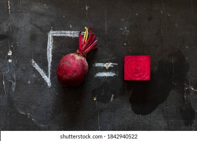 Square root of a beet root. An equation mixed with vegetable as funny word game.