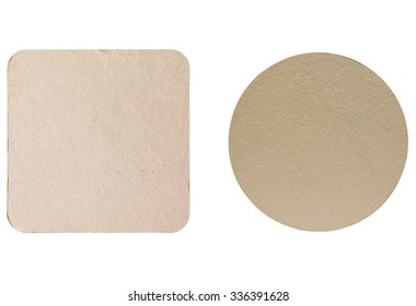 Square and round blank cardboard beermat for a pint of beer isolated over white background