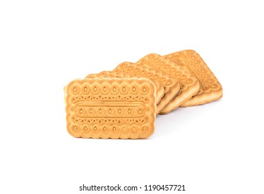 Square Russian biscuits. Isolated on white background.