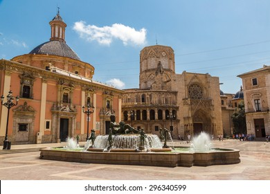 Square of Saint Mary's and fountain Rio Turia  in Valencia in a summer day, Spain