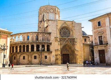 Square of Saint Mary's in Valencia in a summer day, Spain