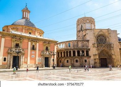 Square of Saint Mary's in Valencia in a summer day on, Spain