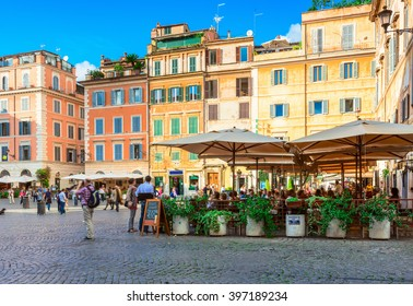 Square Santa Maria in Trastevere, Rome, Italy. Trastevere is rione of Rome, on the west bank of the Tiber in Rome, Lazio, Italy.  Architecture and landmark of Rome