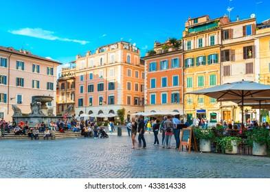 Square Santa Maria in Trastevere, Rome. Italy
