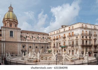 Square of Shame, famous place in the center of the historic city of Palermo, Sicily