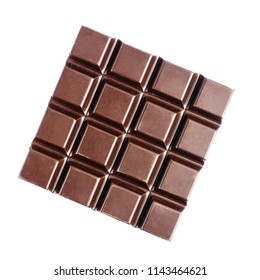 Square shape of bitter, dark chocolate bar, isolated on white background, close up, top view.