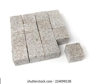 Square shape of blocks made of granite rock.