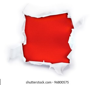 Square shape breakthrough paper hole with red background.