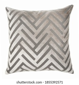 Square Shape Chevron Throw Pillow Isolated on White. Plush Decorative Stitched Cushion with Feather Fill & Zipper Upholstered Zinc Polyester. Snug Lush Toss Pillow Front View. Interior Decoration - Shutterstock ID 1855392571