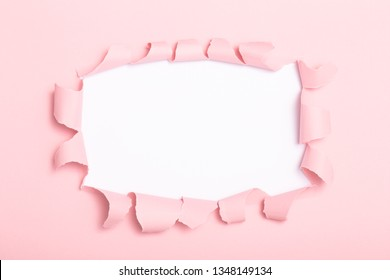 square shape hole in colored cardboard, empty space for advertising text in torn paper, background texture