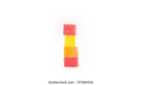 Square shape jelly candy on white background