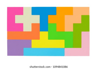 Square shape made from pentomino puzzle isolated on white