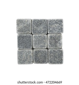 Square shape made of whiskey stone cubes, composition isolated over the white background