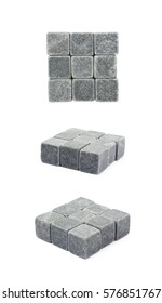 Square shape made of whiskey stone cubes, composition isolated over the white background, set of three different foreshortenings