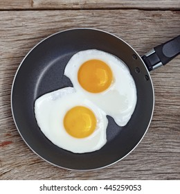 Square shot. Close up Fried eggs in a frying pan. Food. Breakfast. Healthy food.