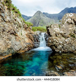 Square shot of one of the Fairy Pools in the Isle of Skye, Scotland. The Fairy Pools are a natural waterfall phenomenon in Glen Brittle on the Isle of Skye comprising vivid blue & green water pools.