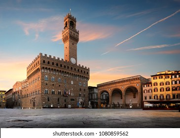 Square of Signoria in Florence at sunrise, Italy