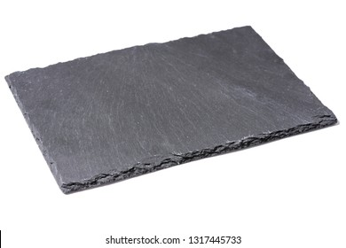 Square slate tray, white background. Dark gray slate plate over white background. Kitchen stone tray for food above white background.