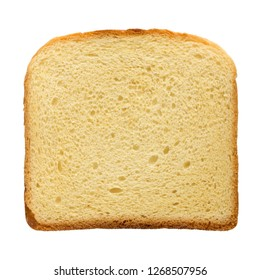 square slice of the toast bread isolated over the white background, top view