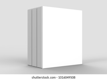 Square slipcase book mock up isolated on soft gray background. 3D illustrating