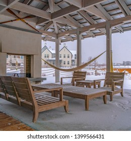 Square Snowy patio of a clubhouse in Daybreak Utah