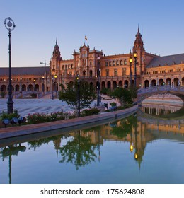 Square of Spain at night, Sevilla, Andalusia,  Spain