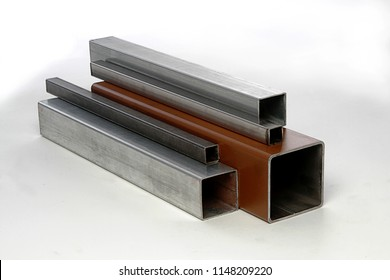 square steel rectangle tubes metal iron production profiles pipe calibers  white background