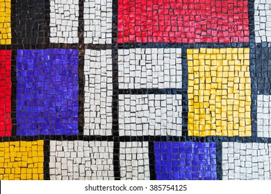 Square stone tiling mosaic, colorful background texture