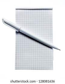 Square stripped notepad with pen on white background