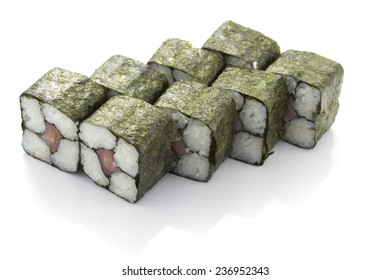 Square sushi roll with salmon isolated on white background