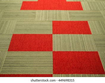 Square Tiles Carpet with Red, Light Brown and Grey stripes pattern