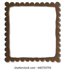 Square   torn paper frame   - 3D illustration