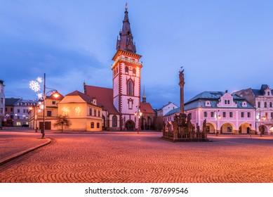 Square in town Chomutov, Czech republic