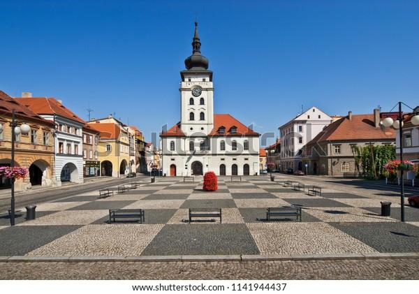 Square in town of Zatec. Czech Republic.