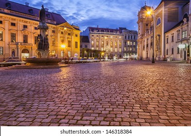 A square in Vienna in evening.