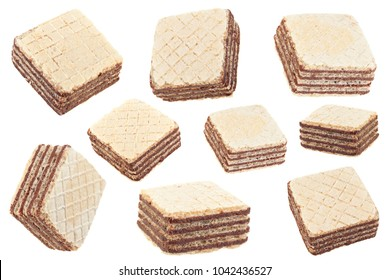 Square wafers stick set isolated on white background
